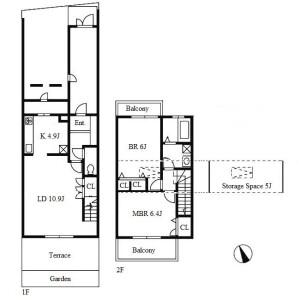 2LDK Terrace house in Tokugawa - Nagoya-shi Higashi-ku Floorplan