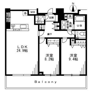 2LDK Mansion in Nishiazabu - Minato-ku Floorplan
