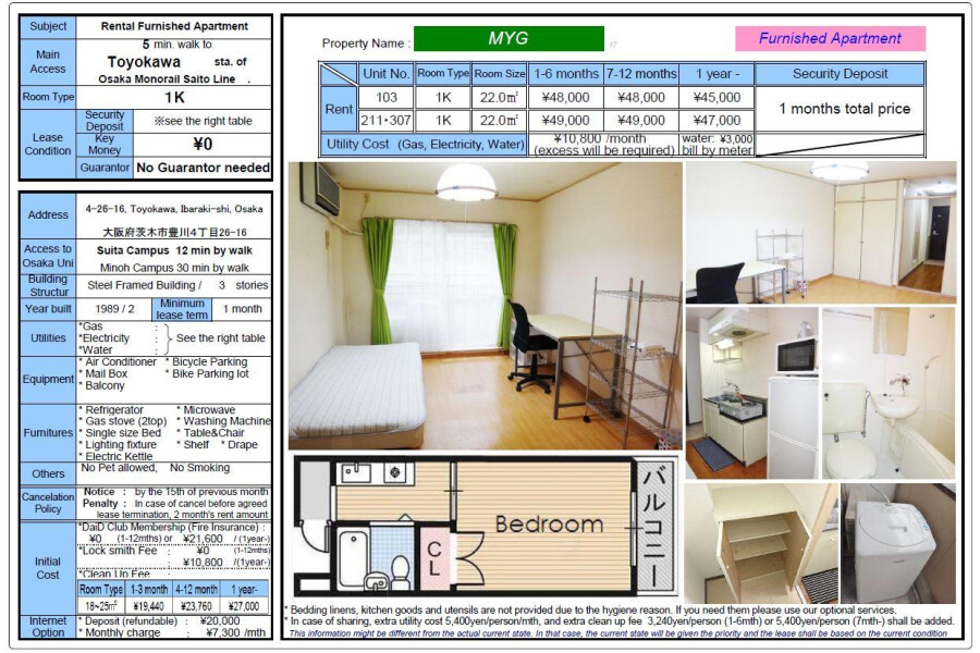 1K Apartment to Rent in Ibaraki-shi Other Equipment