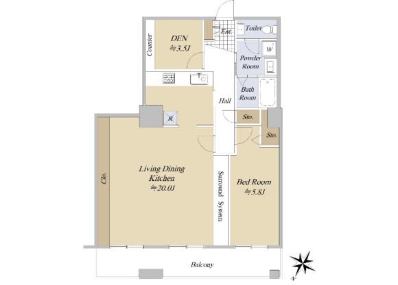 1SLDK Apartment to Buy in Chuo-ku Floorplan