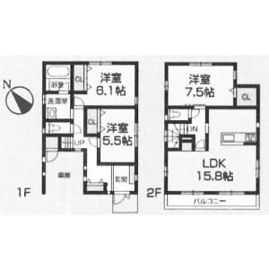 3LDK House in Sakamotocho - Yokosuka-shi Floorplan