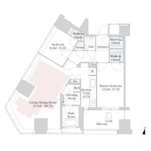 2LDK Mansion in Nishishinjuku - Shinjuku-ku Floorplan