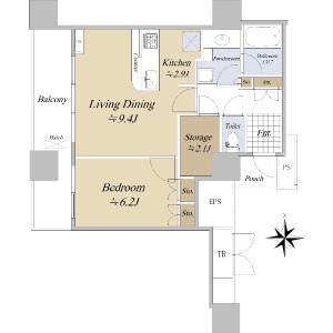 1LDK {building type} in Konan - Minato-ku Floorplan