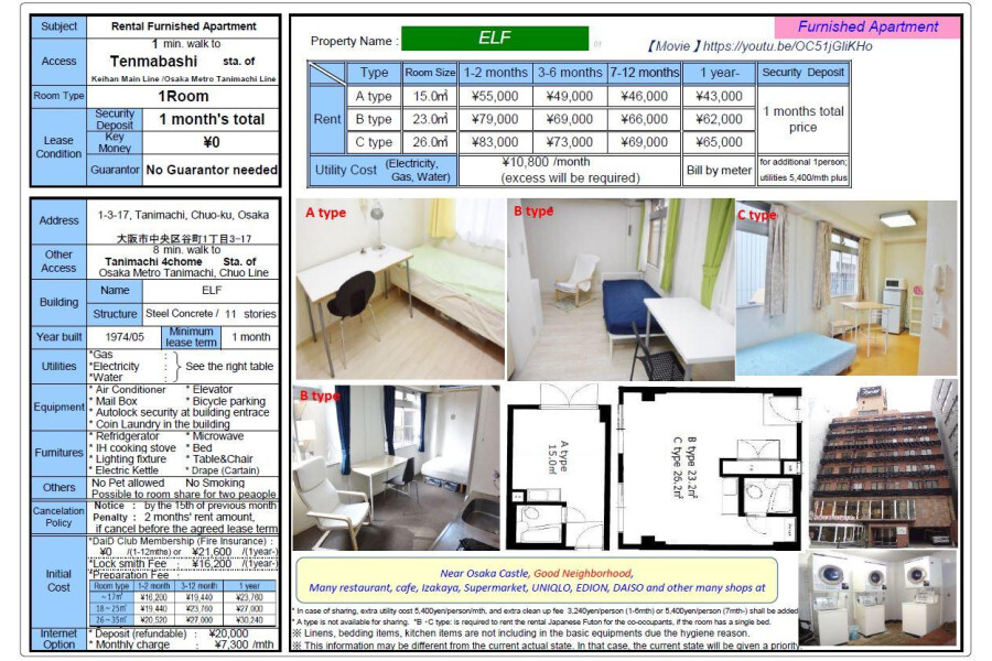 1R Apartment to Rent in Osaka-shi Chuo-ku Rent Table