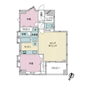 2LDK {building type} in Bentendori - Yokohama-shi Naka-ku Floorplan