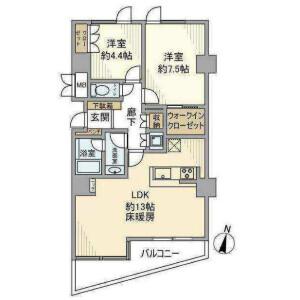 澀谷區恵比寿-2LDK公寓大廈 房間格局