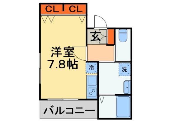 1R Apartment to Rent in Chiba-shi Chuo-ku Floorplan
